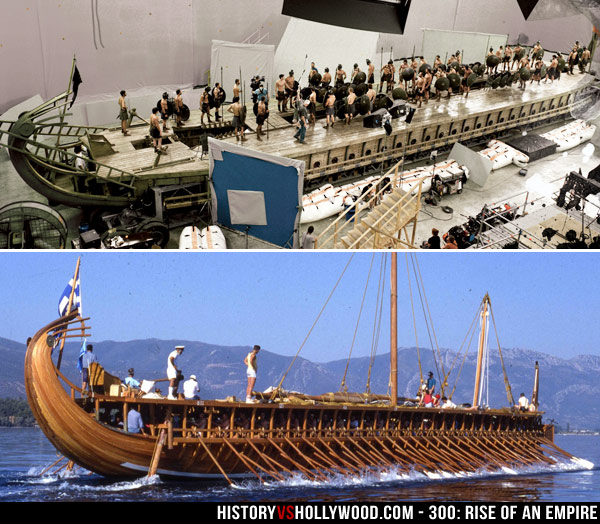 Trireme on Set and a Real Trireme