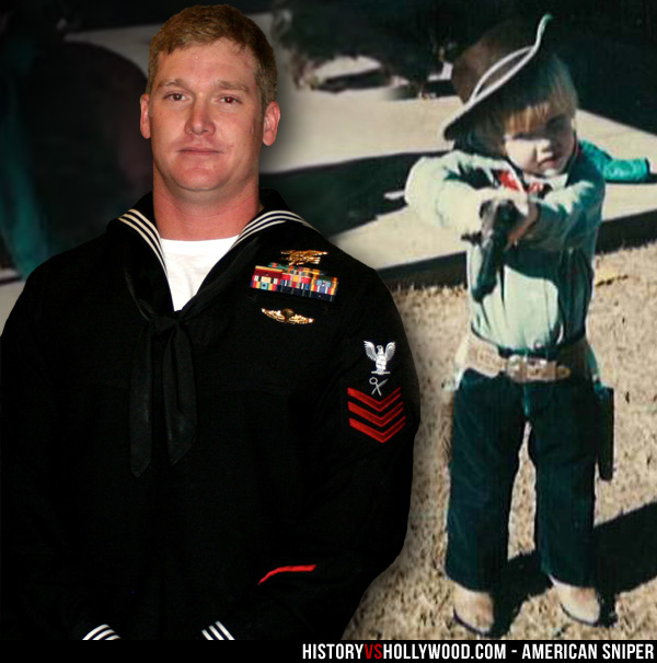 Chris Kyle in Dress Uniform and Childhood Photo