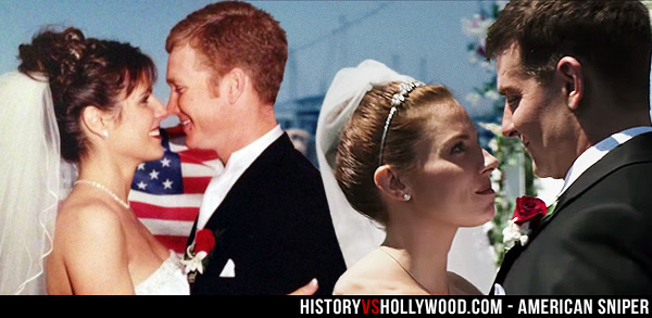Taya Kyle and Chris Kyle Wedding Photo, Sienna Miller and Bradley Cooper