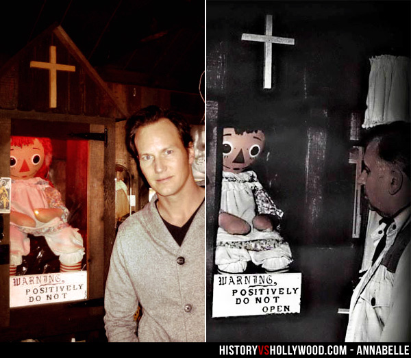 Patrick Wilson and Ed Warren with Annabelle