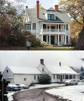 The Conjuring movie house (top) vs. the real Perron family home in the