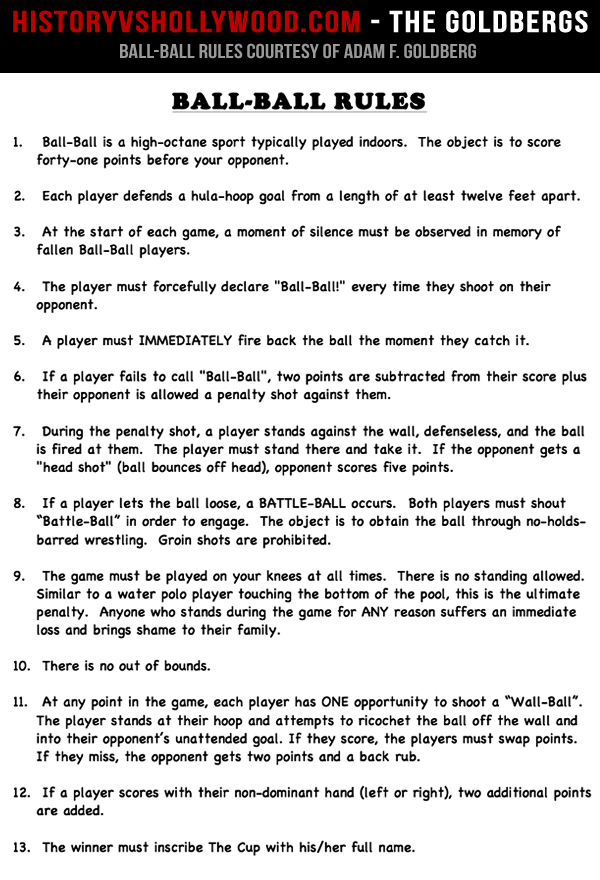 The Goldbergs Ball-Ball Game Rules