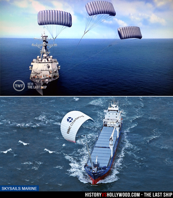 Last Ship Parachute Kite Sails on Show and SkySails in Real Life