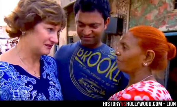 Sue Brierley, her adopted son Saroo, and his birth mother Fatima