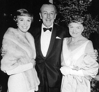 P.L. Travers (right) with Walt Disney and Julie Andrews, who Travers believed was too pretty to be Mary Poppins.