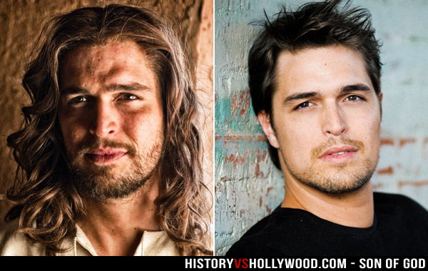 Actor Diogo Morgado as Jesus and in Real Life