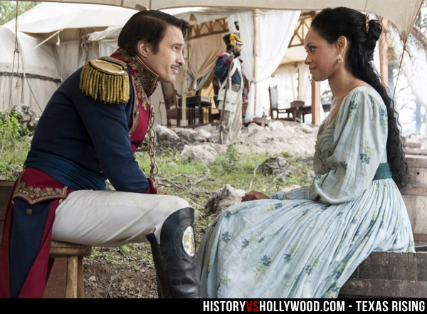 Olivier Martinez and Cynthia Addai-Robinson as Santa Anna and Emily West