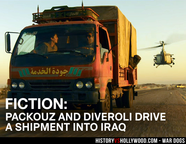 Packouz and Diveroli deliver a shipment to Baghdad in the movie