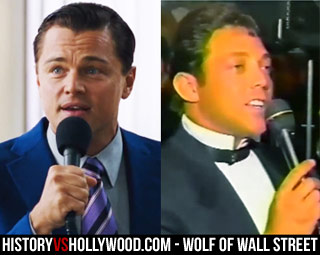 Jordan Belfort with the mic in the movie and real life